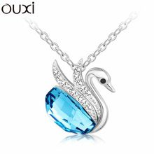 Best Quality Women Necklace Pendant Jewelry Collar Swan Bijoux Made with Swarovski Elements Crystals from Swarovski OUXI NLA066(China (Mainland))