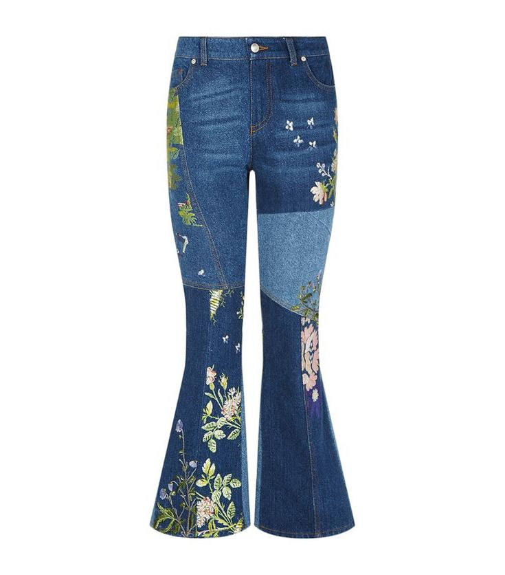 Women: Cropped Jeans Alexander McQueen Floral Patchwork Flared Jeans