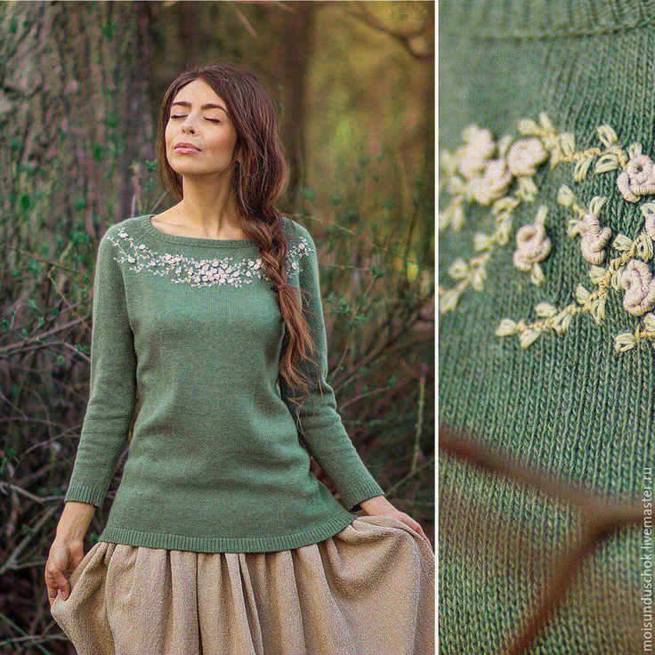 """Купить Свитер """" Запах весеннего леса"""" - цветочный, зеленый, свитер вязаный, Нарядная одежда"""