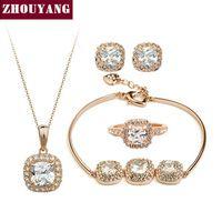 Высочайшее Качество ZYS172 Позолоченный Элегантные Свадебные Ювелирные Изделия Ожерелье Серьги Кольца Blacelet Набор Сделано с Австрийскими Кристаллами