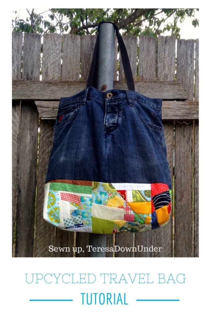 Upcycled denim pants travel bag with improv patchwork tutorial