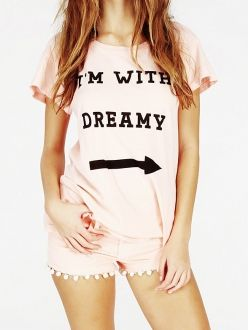 Pink I'M WITH DREAMY Arrow Printed Loose T-shits