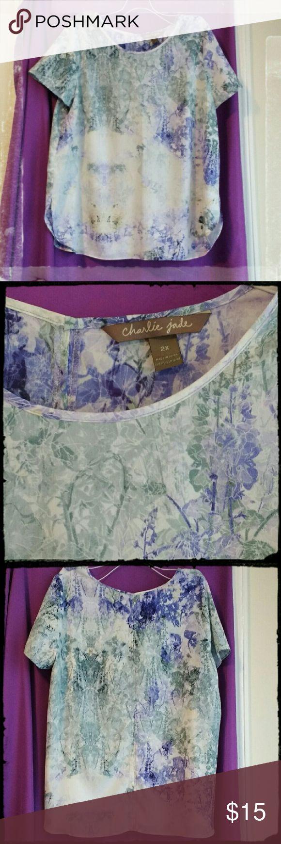 Purple/Green Floral Charlie Jade Blouse 2X Charlie Jade blouse. Purple and green floral design. 100% polyester. Charlie Jade Tops Blouses