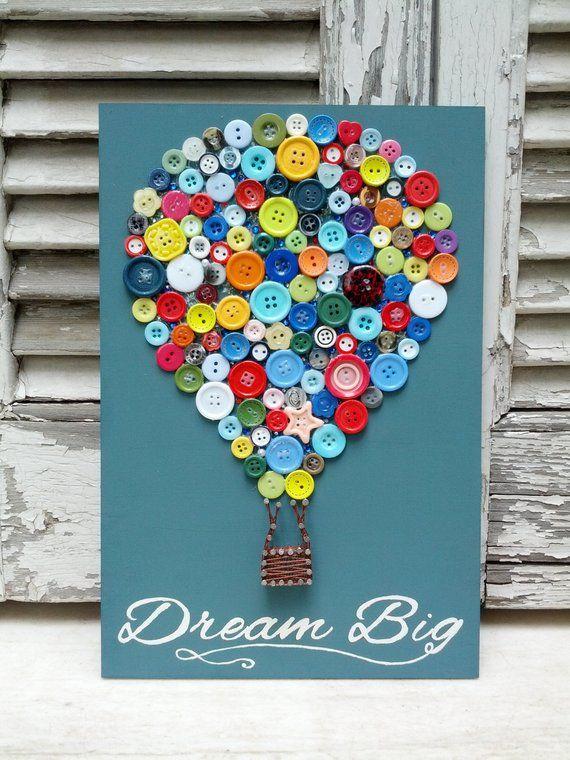 Dream Big Little One, handgemachte String Art, Nail Art, Button Art, Luftballon mit Zitat, Wanddekoration für Mädchen oder Jungen Zimmer – Basteln