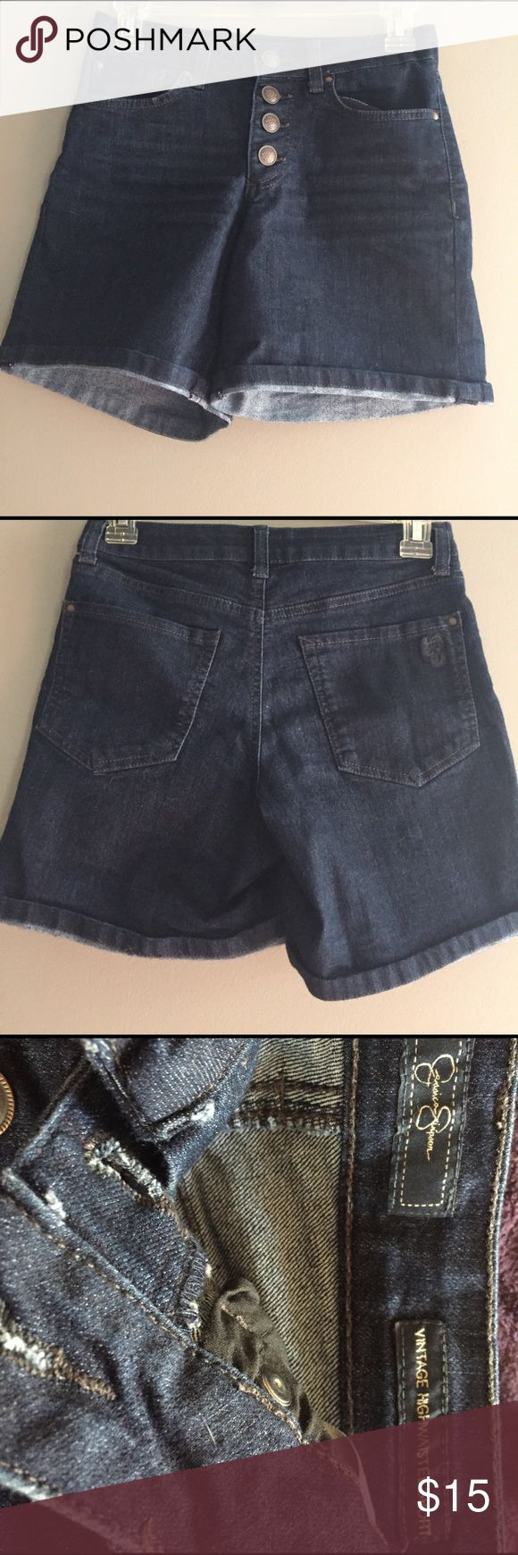 Jessica Simpson denim shorts Very cute Jessica Simpson button up denim shorts no longer fit in them excellent condition stretchy material and yes I still don't fit in them with stretchy material Jessica Simpson Shorts Jean Shorts