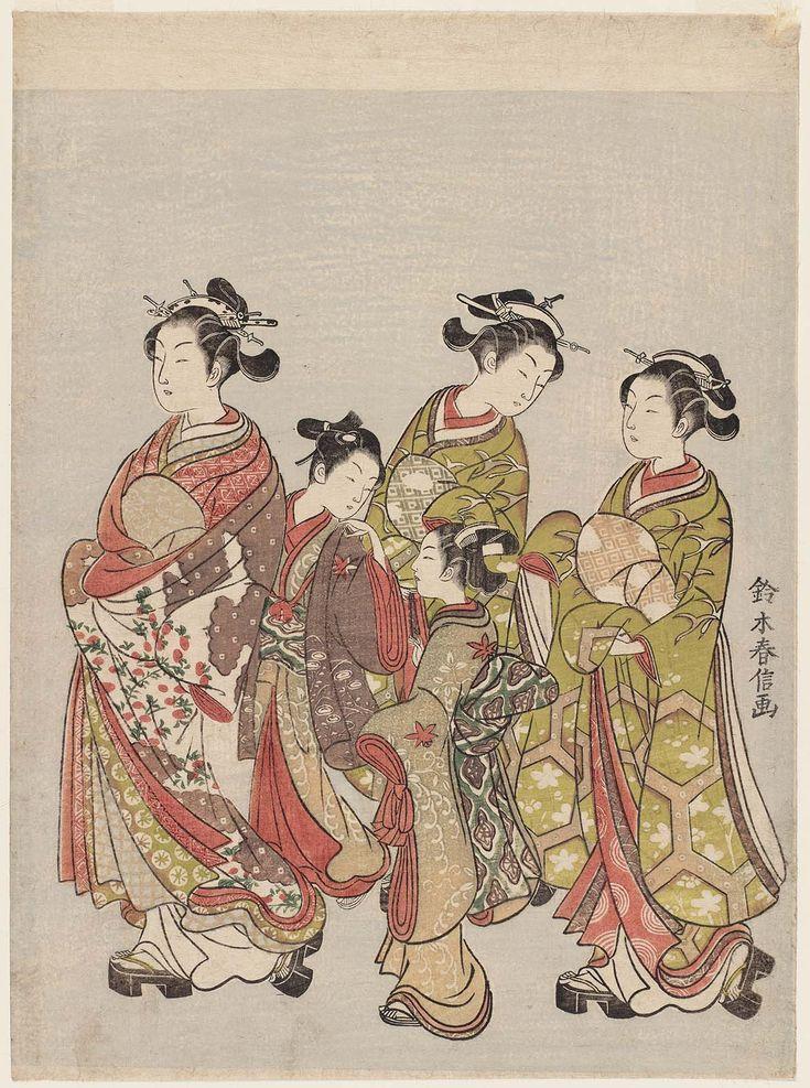 Courtesan and Attendants on Parade 花魁道中 Japanese Edo period about 1766 (Meiwa 3) Artist Suzuki Harunobu (Japanese, 1725–1770)