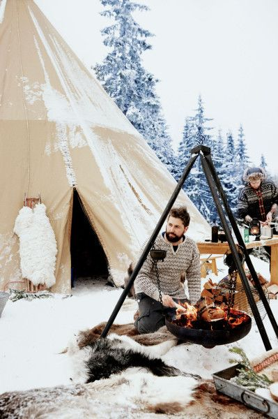 A Norwegian feast - in the woods! Smalhans chefs Anders Braathen, left, and Jon Marius Sletten. Photo via Bon Appetit Magazine