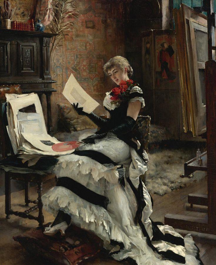 'Chez L'Artiste (Les Gravures)' (1881) by Swedish-speaking, Finnish painter, Albert Edelfelt (1854–1905)