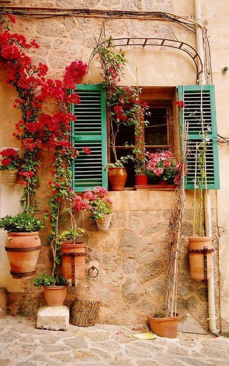 addictedtolifestyle:  Addicted to LifeStyle   ❀   floralls: (via Green Shutters, Mallorca, Spain   The Best Travel Photos)