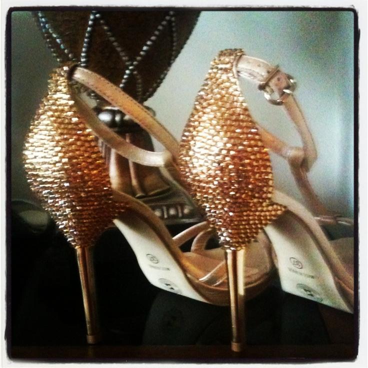 Golden encrusted heels