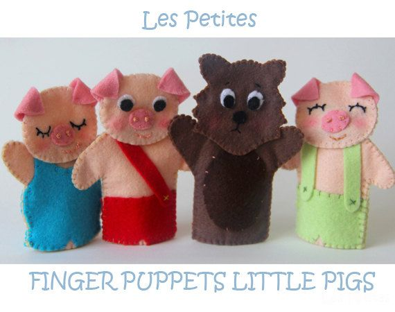 These three litlle pigs and the Wolf are felt finger puppets and they are perfect to create stories with you kid.  They are made with felt and