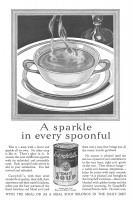 Campbells Tomato Soup as a Meal 1927 Ad. A sparkle in every spoonful. No tomato is plucked until the sun has ripened it and sweetened it to the very heart, right as it grows on the vine. Then when it hangs - a ruddy and luscious temptation - laden by nature with tonic nourishment - it is plucked and brought to the Campbells kitchens. 12 cents a can. Campbell Soup Company, Camden, New Jersey, USA.