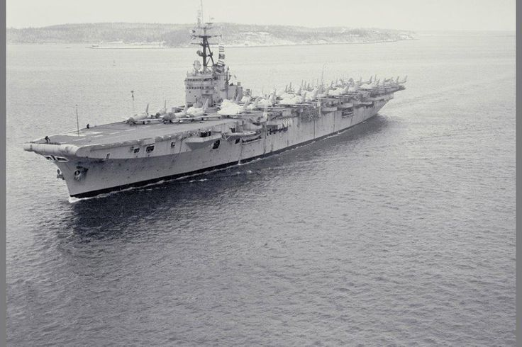 April 7, 1948 – The Royal Canadian Navy's aircraft carrier, His Majesty's Canadian Ship Magnificent, is commissioned to replace HMCS Warrior. In this 1957 photo, HMCS Magnificent arrives in Halifax Harbour with F-86 Sabres on the flight deck.