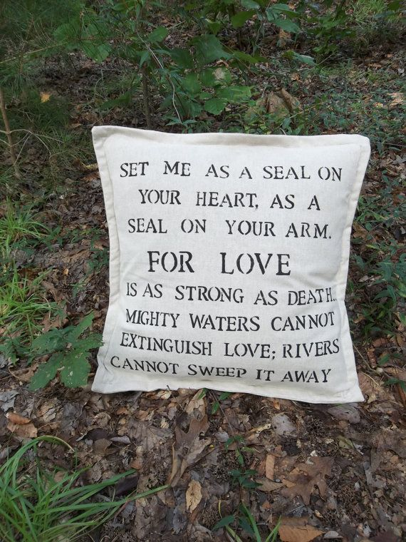Song of Solomon 8:6-7 FOR LOVE Throw Pillow Cover French Country Pottery by misshettie, $32.00
