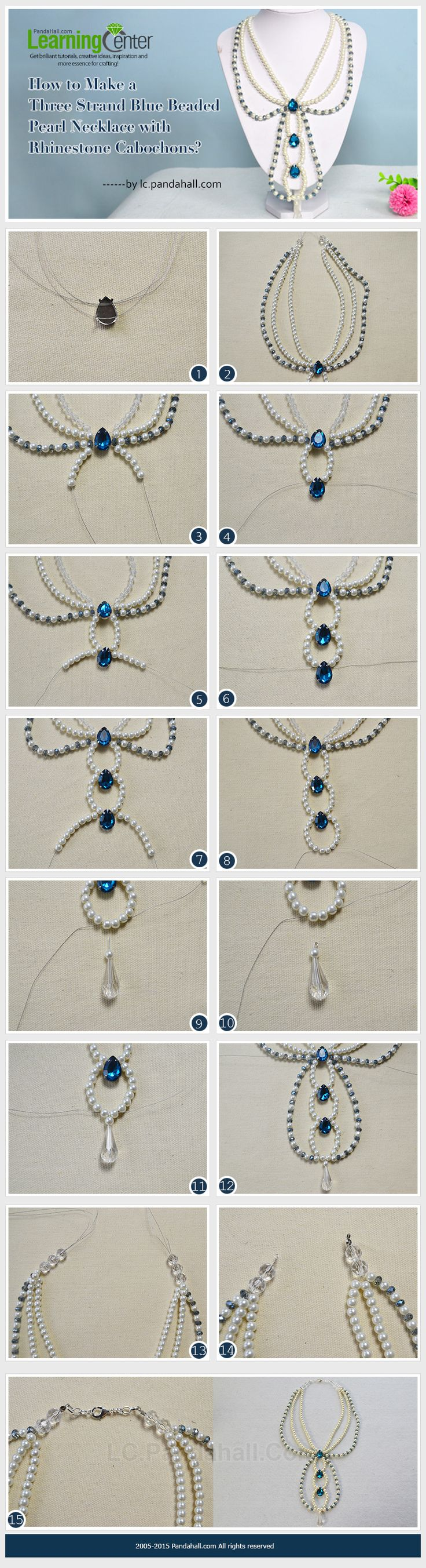 Three Strand Blue Beaded Pearl Necklace