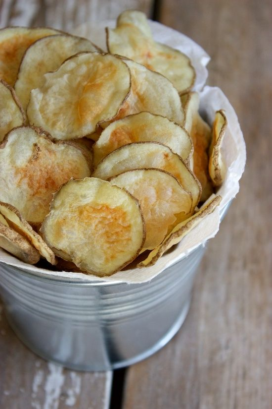crispy microwave potato chips (just potatoes & sea salt -- no oil!)