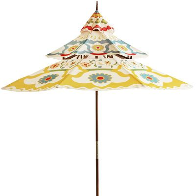 Inspired by the tiered roof lines of Asian architecture, our outdoor umbrella features a bright, colorfast, water-repellent canopy topped by a unique finial accent. Underneath, a pulley design makes for easy opening and the eucalyptus pole assembles simply and provides lasting stability. Includes drawstring storage tote. That's right: It's serenity in a bag.