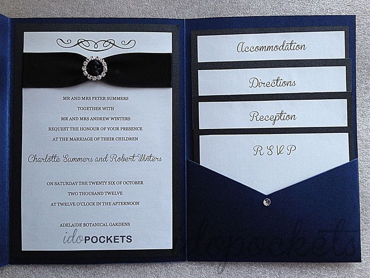 Dark Blue Wedding Invitations