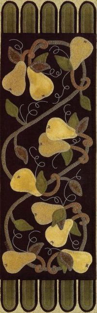 I love pears and wool felt appliques so this is one of my favorites!!  Patterns and Kits - Wool Applique Patterns - The Merry Hooker Woolens...Rug Hooking Patterns, Beautiful Wool Fabric, Townsend Cutters, Supplies and Kits