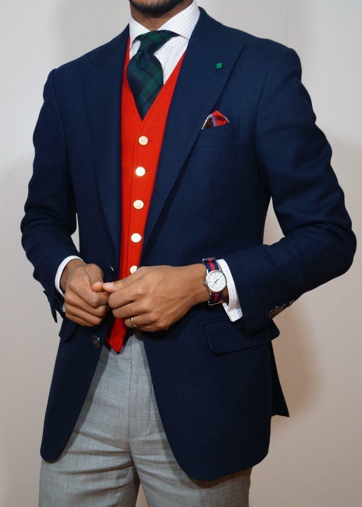 Men's Navy Wool Blazer, Red Waistcoat, White Check Dress ...