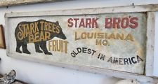 """VINTAGE ONE-SIDED STARK NURSERY LOUISIANA, MO. (20"""" WIDE 57"""" LONG) WOODEN SIGN"""