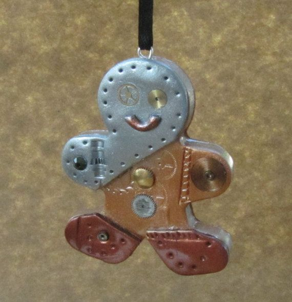 Steampunk Industrial Christmas Ornament - Gingerbread Man - Mixed Media