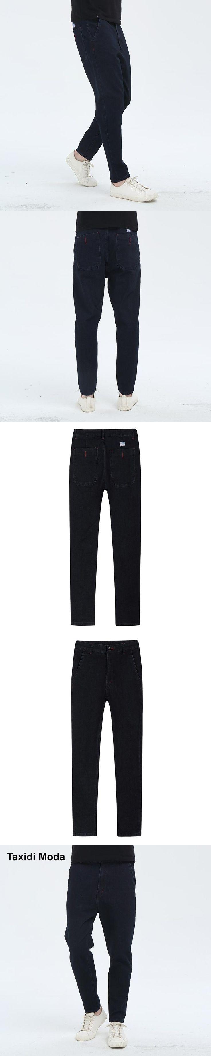 Taxidi Moda 2017 Autumn Mens Casual Denim Pants Blue Black Brand Clothing For Man's Slim Fit Harem Jeans Male Wear Trousers 5082