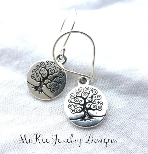 Sterling silver tree of life earrings. Round, small. Yoga, bohemain jewelry. -  - McKee Jewelry Designs - 1