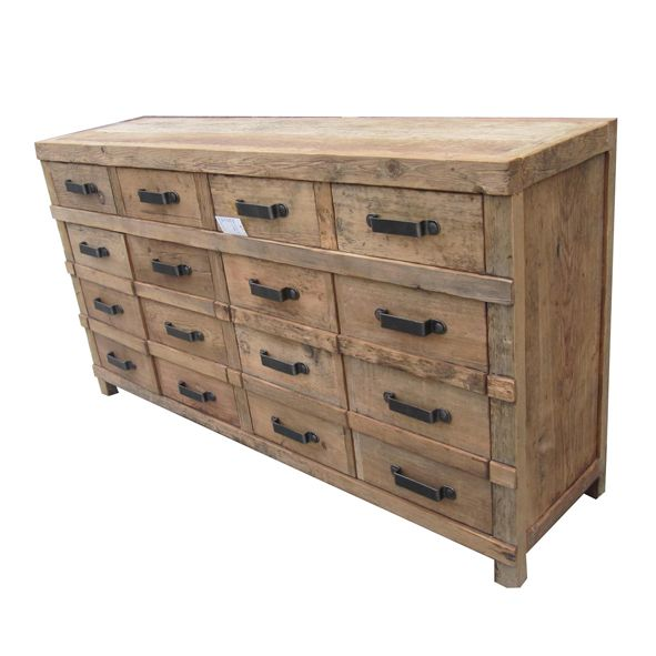 INDUSTRIAL SIDEBOARD  FI014 - 4 Drawer, 4 Door Wooden Sideboard with Iron Handles (reproduction): Idea, Dream, French Industrial, By, House, Furniture, Room