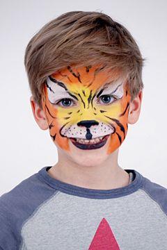 Tiger schminken: Anleitung für ein einfaches Tiger-Gesicht. Schminken Sie Ihr Kind zu Karneval zu einem gefährliches Tiger. Wir zeigen, wie's geht! © vision net ag