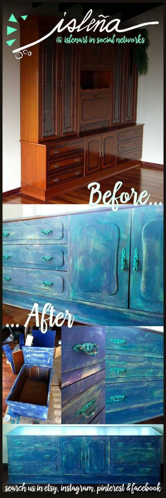 Cómoda vintage restaurada con chalk paint. Cajonera decorativa ideal para el almacenaje. Parte de vitrina, restaurada con pintura a la tiza de Islenart en Etsy