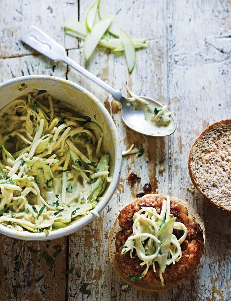 Pork and Apple Burgers with Celeriac Slaw from Dean Edwards' brilliant cookbook, Mincepiration! http://thehappyfoodie.co.uk/recipes/pork-and-apple-burgers-with-celeriac-slaw