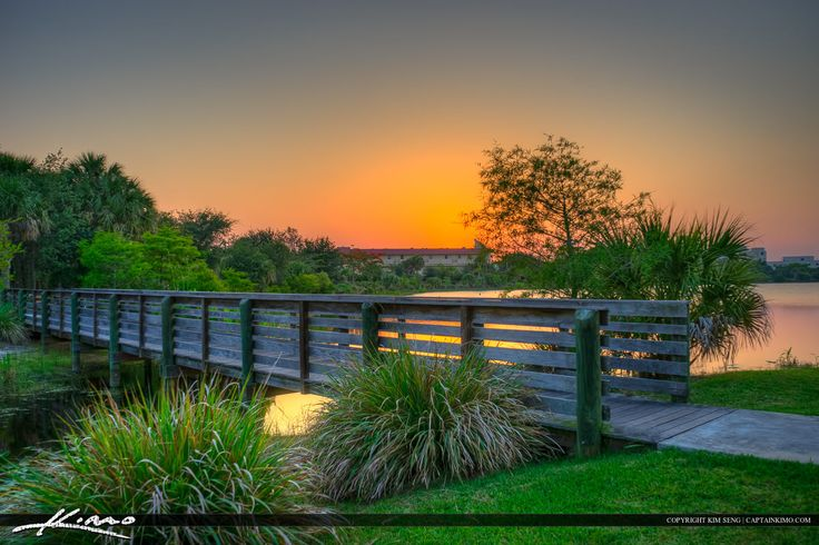 Boardwalk Bridge Hillmoor Park sunset in Port St. Lucie Florida