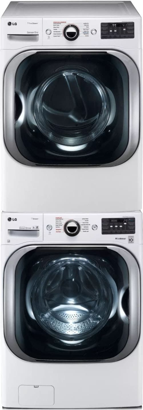 LG LGWADREW8108 Stacked Washer & Dryer Set with Front Load Washer and Gas Dryer in White