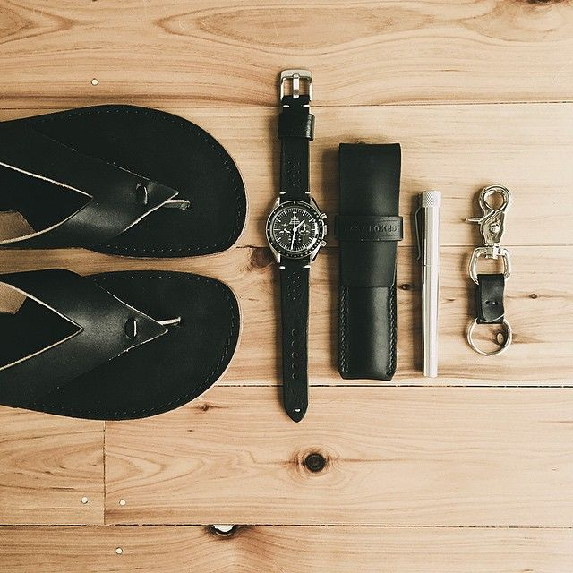 """All black handmade leather goods. Omega Speedmaster paired up with a black Bas and Lokes """"Cooper"""" handmade leather watch strap, a matching black """"Reynolds"""" pen case and key fob. Available at www.basandlokes.com"""