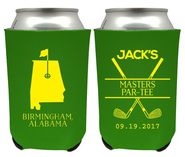 Masters Golf Party Can Coolers, ANY STATE, Masters Golf Partee Favors, Golf Birthday, Golf Bachelor Party, Masters Golf Beer CanCoolers (49) by CuteSayings on Etsy https://www.etsy.com/listing/500440955/masters-golf-party-can-coolers-any-state