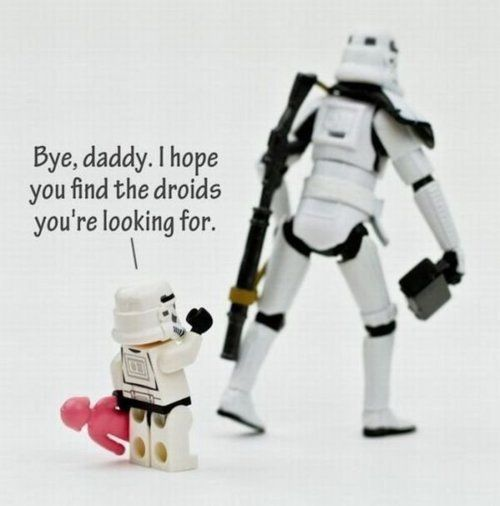 Storm trooper goes to work.
