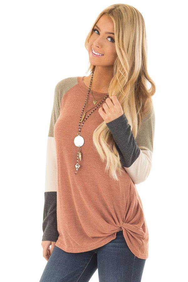 Women Long Sleeve Colorblock Loose Fit Summer Knot Tshirt Tunic Tops