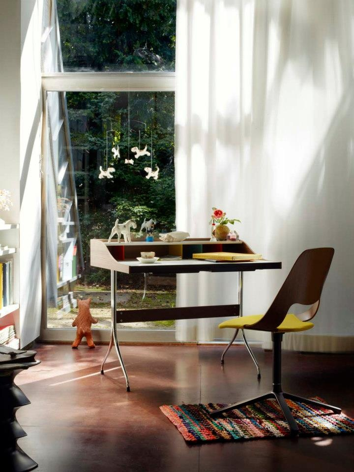 Home desk, design by George Nelson, 1958, and Jill chair, design by Alfredo Haberli, 2011, both for VITRA.