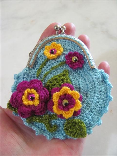 Crochet Coin Purse Mother Day's Gift Flowery Coin Purse by neduk