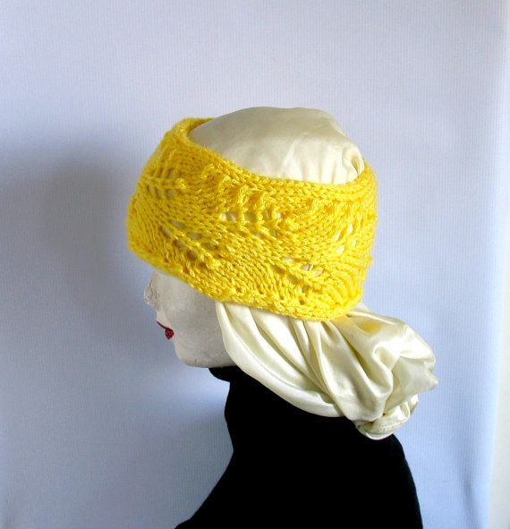 Lacefield Lace Knit Boho Headband Yellow Frida by recyclingroom, $18.00