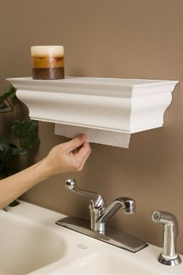 Hidden paper towel holder: Towels Dispen, Add Shelf, Shelf Paper, Paper Towels Rolls, Laundry Rooms, Great Ideas, Crowns Moldings, Paper Towels Holders, Shelf Spaces