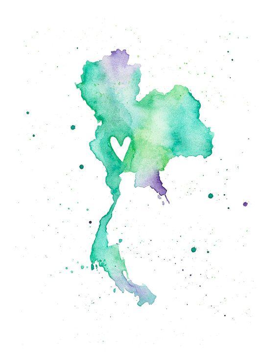 5 x 7 o 85 x 11 amor de Tailandia por poppyandpinecone en Etsy
