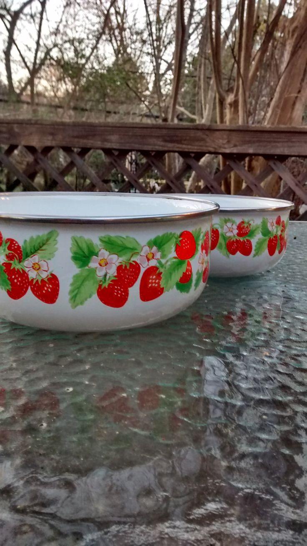 Enamel strawberry bowls Japan Kobe kitchen set of 2 bowls strawberry kitchen enamel bowls by HappyVintageStudio on Etsy