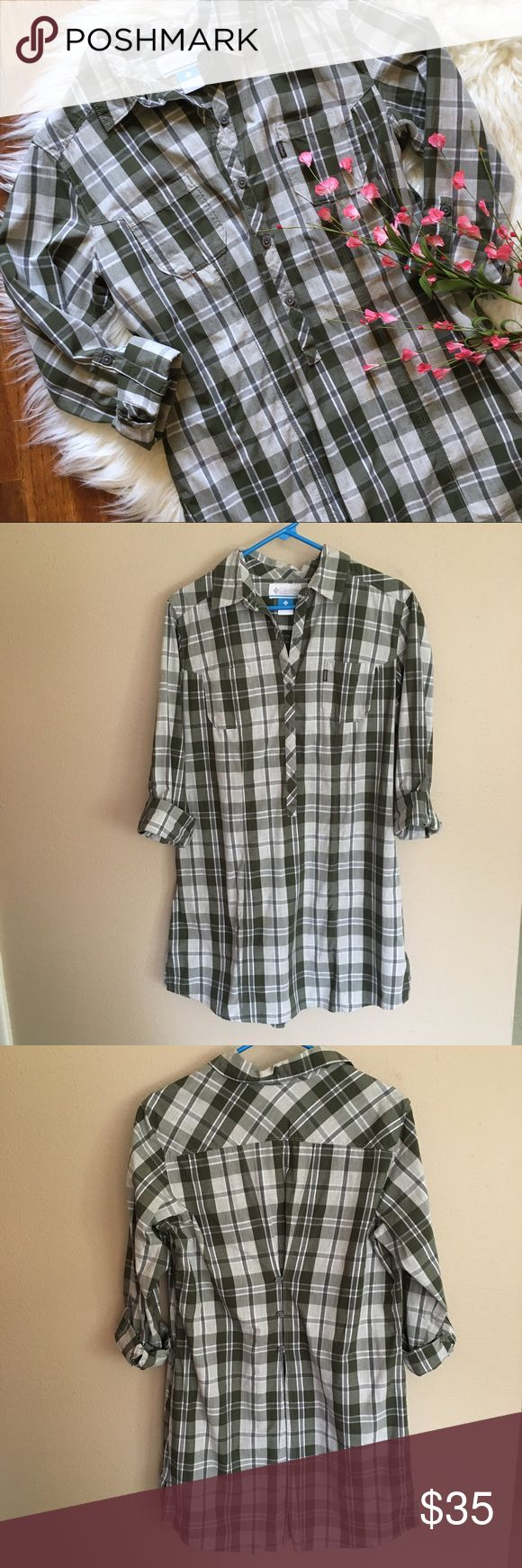 """Columbia olive green plaid popover shirt dress Olive green plaid dress. Cute button details on the back. Sleeve can be worn 3/4 or long sleeve. ~33"""" long and 40"""" bust. Can be worn as a shorter dress or as a tunic. Great to layer this fall. In excellent condition.  (E67) Columbia Dresses Long Sleeve"""