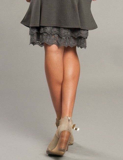 Is your skirt or dress too short? Try one of our lace slip extenders! They add length to any shorter style and come in many bright AND neutral colors. *Note: Size XL is marked $4 higher. $24.99-$28.99 http://bellaellaboutique.com/product/lace-slip-extenders/