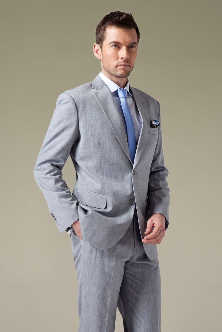 Light Grey With Blue Pinstripe Suit Men S Fashion Blue