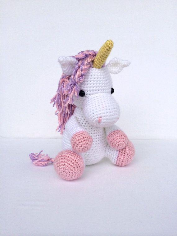 Crochet Licorne cheval Animal en peluche rose et blanc
