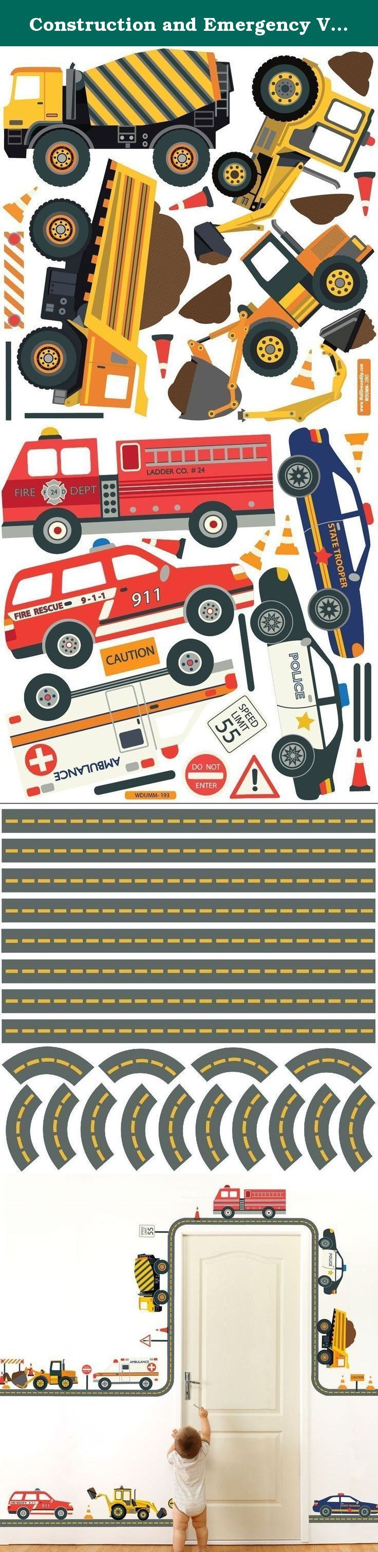 """Construction and Emergency Vehicle Fabric Wall Decals with Straight and Curved Gray Road. Cement mixer, dump truck, back hoe, excavator, ambulance, police car, state trooper, EMS vehicle and fire engine wall decals. 6 street signs and 10 traffic cones with straight and curved gray road wall decals. Just peel & stick, our reusable fabric wall decals are great for kids rooms and apartments as there is no damage to walls! Dimensions: 9 vehicles: Cement mixer 14.5""""w x 8.75""""h Dump truck 15.9""""w…"""
