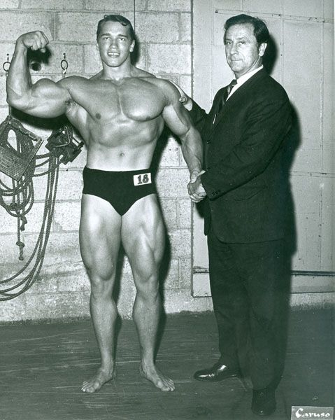 Joe Weider with Arnold Schwarzenegger at the 1968 Mr. Universe